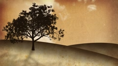 Growing tree on a hill, sepia background (HQ 1080P) Stock Footage