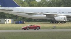 Ferrari 360 Spyder on race track Stock Footage