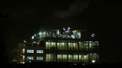 Industrial building at night Stock Footage