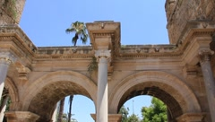Ancient gate of Roman emperor Adrian at Antalya city center, Turkey Stock Footage