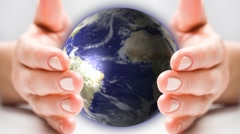 hands holding global business universe world globe earth virtual planet - stock footage