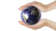 Hands holding global business universe world globe earth virtual planet Stock Footage