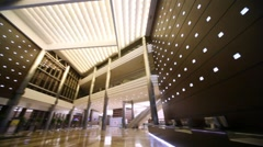 Panning of empty hall in business center Stock Footage