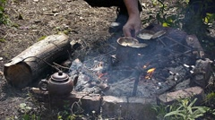 Campfire in Siberian taiga Stock Footage