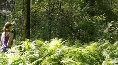 Woman relax in forest Stock Footage