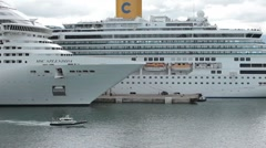 Cruise ships and pilot boat in harbor P HD  1645 Stock Footage