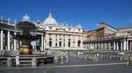 Stock Video Footage of Fountain on square and St. Peters Basilica in Vatican