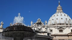 Fountain and Dome St. Peters Basilica in Vatican - stock footage