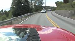 Ferrari rear facing camera on the road Stock Footage