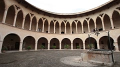 Palma Mallorca Bellver Castle courtyard pan P HD 1391 Stock Footage