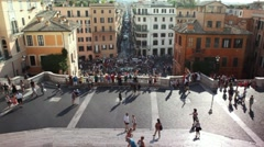 Tourists on Spanish Steps (Italian: Scalinata della Trinita dei Monti) in Rome Stock Footage
