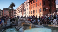Tourists walk on Spanish Steps (Italian: Scalinata della Trinita dei Monti) Stock Footage