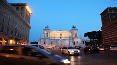 Movement cars for busy square near monument in honor of Victor Emmanuel II Stock Footage