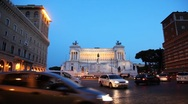 Stock Video Footage of Movement cars for busy square near monument in honor of Victor Emmanuel II