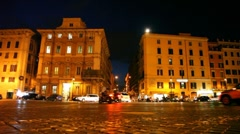 Movement of vehicles on illuminated Venice Square in Rome Stock Footage