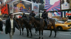 3 NYC Cops on horses (slow motion) Stock Footage