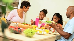 African American Family Healthy Eating Stock Footage
