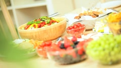 Fresh Fruit & Salad Vegetables for a Healthy Lunch Stock Footage