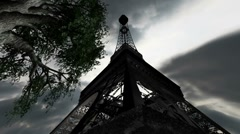 Eiffel Tower Clouds Timelapse 11 wideangle Stock Footage