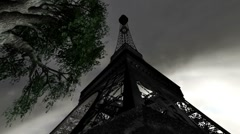 Eiffel Tower Clouds Timelapse 12 wideangle Stock Footage