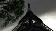 Stock Video Footage of Eiffel Tower Clouds Timelapse 12 wideangle