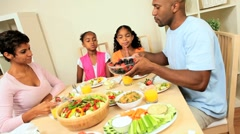Young African American Family Healthy Eating - stock footage