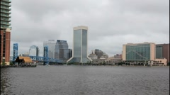 Jacksonville downtown from south bank Stock Footage