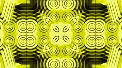 Yellow disco circle and round shaped flower fancy pattern,religion kaleidescope Stock Footage