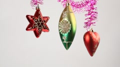 Childrens hands touches christmas-tree decoration - stock footage