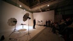 Yakov Titov gives master-class in hall of studio Pravda 24 Stock Footage