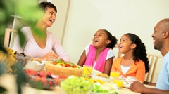 African American Family Enjoying a Healthy Lunch Together Stock Footage