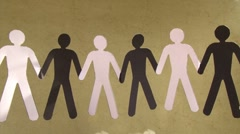 Stop racism (version 1). Black and white paper people, together Stock Footage