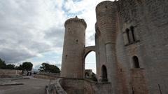 Palma Mallorca Bellver Castle walls P HD 1376 Stock Footage