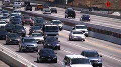 Fwy traffic slow trucks 405 Stock Footage