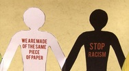 Stock Video Footage of Stop racism (version 3). Black and white paper people, together