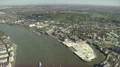 Aerial London 2012 Olympics Greenwich venue Stock Footage