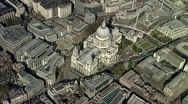 Aerial view St Pauls Cathedral London Stock Footage