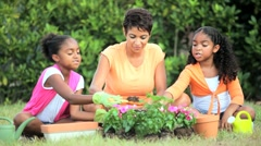 Little African American Girls Gardening with Mom Stock Footage