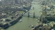 Aerial view of tower Bridge London Stock Footage