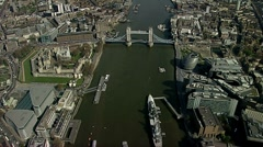 Aerial shot of Tower Bridge and River Thames Stock Footage