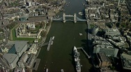 Stock Video Footage of Aerial shot of Tower Bridge and River Thames