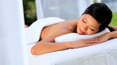 Young Asian Female Client at Luxury Health Spa Stock Footage