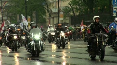 A group of bikers on motorcycles Stock Footage