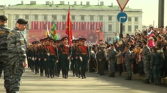 A parade of military Stock Footage