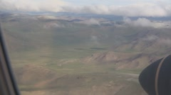 Mongolia: Shot of the Steppes of ZavKhan from plane Stock Footage