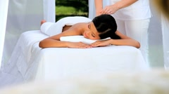 Beautiful Asian Girl Relaxing with Massage Stock Footage
