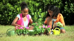 Little African American Girls Gardening Stock Footage