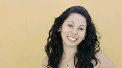 Young college student smiling at camera - stock footage