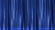 Stock Video Footage of Blue stage theater curtain opens from center to black matte.