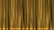 Gold stage theater curtain opens from center to black matte. Stock Footage